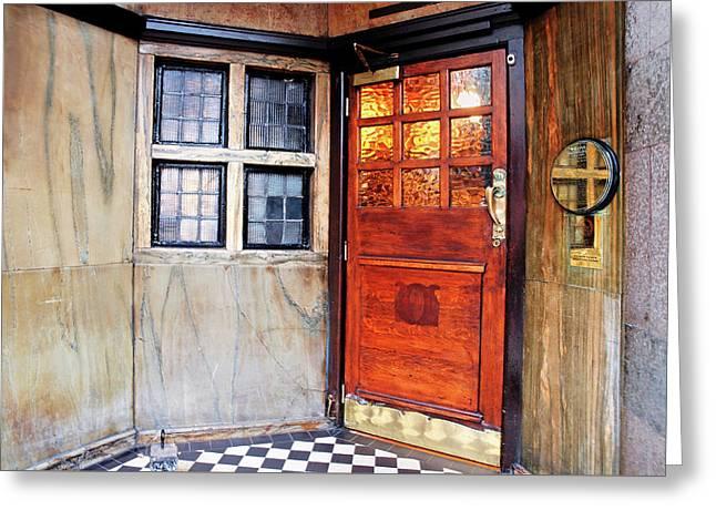 Saloon Bar Door - Entrance To The Black Friar London Pub Greeting Card by Gill Billington