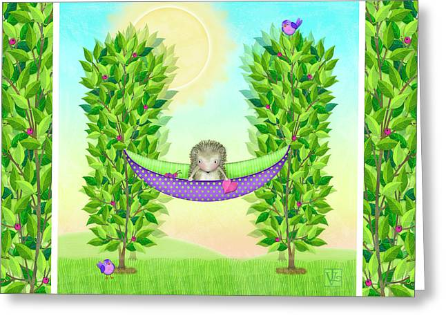H Is For Hedgehog And Hammock Greeting Card by Valerie Drake Lesiak