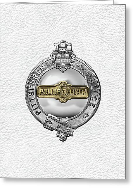 Pittsburgh Bureau Of Police -  P B P  Police Officer Badge Over White Leather Greeting Card