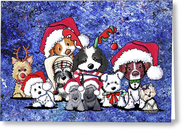 Kiniart Christmas Party Greeting Card by Kim Niles