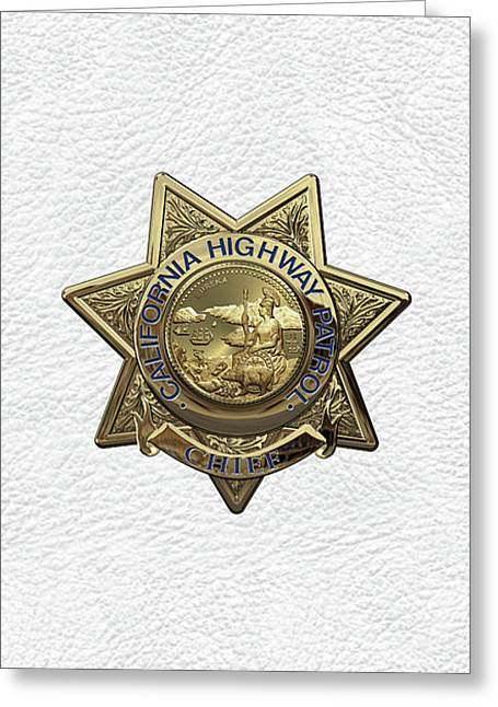 California Highway Patrol  -  C H P  Chief Badge Over White Leather Greeting Card by Serge Averbukh