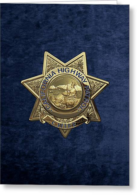 California Highway Patrol  -  C H P  Chief Badge Over Blue Velvet Greeting Card by Serge Averbukh