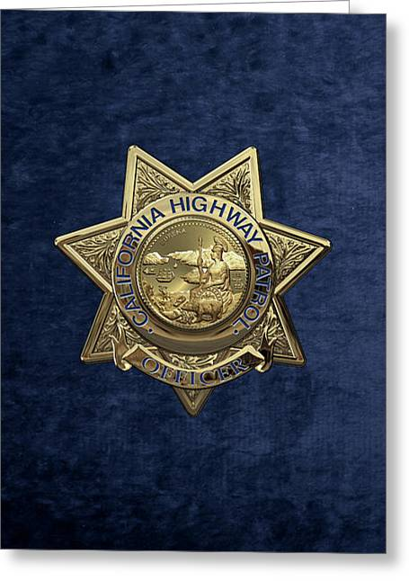 California Highway Patrol  -  C H P  Police Officer Badge Over Blue Velvet Greeting Card by Serge Averbukh