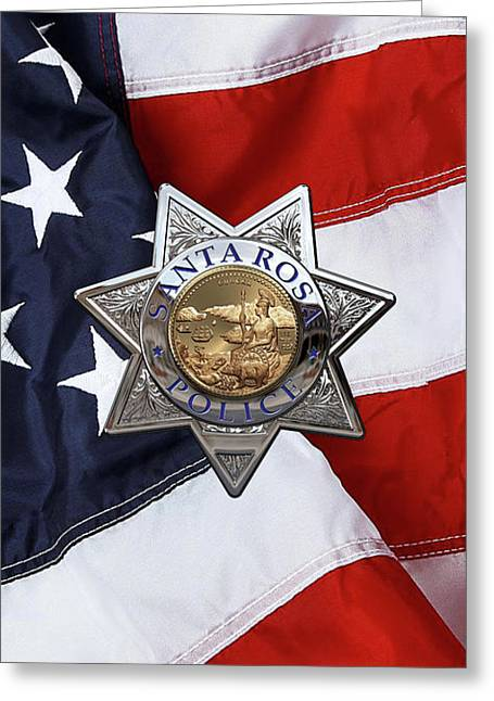Santa Rosa Police Departmen Badge Over American Flag Greeting Card by Serge Averbukh