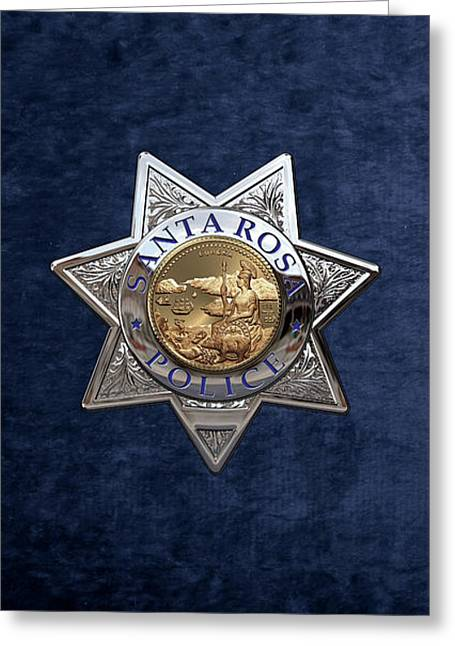 Santa Rosa Police Department Badge Over Blue Velvet Greeting Card by Serge Averbukh