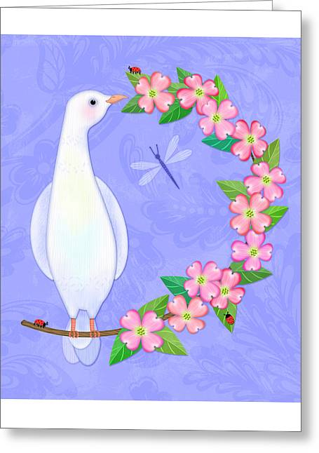 D Is For Dove And Dogwood Greeting Card