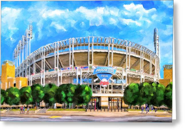 Progressive Field - Cleveland Baseball Greeting Card by Mark Tisdale