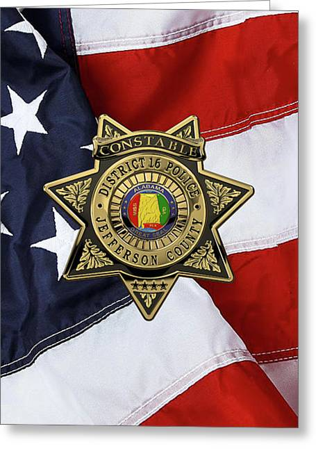 Jefferson County Sheriff's Department - Constable Badge Over American Flag Greeting Card by Serge Averbukh