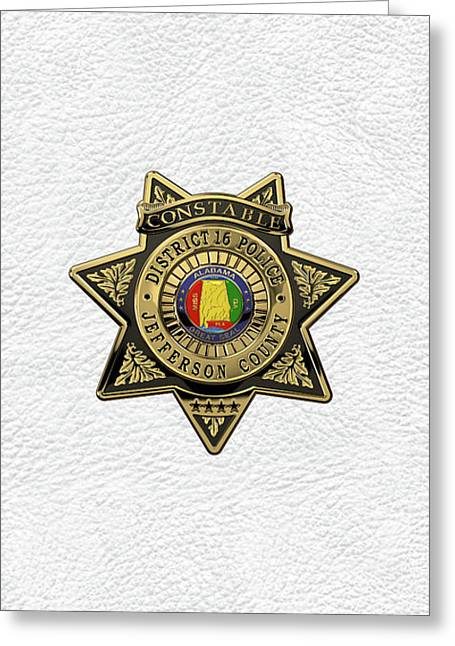 Jefferson County Sheriff's Department - Constable Badge Over White Leather Greeting Card by Serge Averbukh