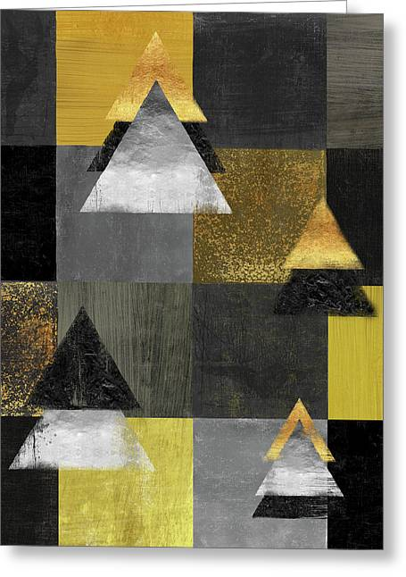 Abstract Geometric Square And Triangle Design Greeting Card by Tina Lavoie
