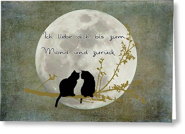 Greeting Card featuring the digital art Ich Liebe Dich Bis Zum Mond Und Zuruck  by Linda Lees