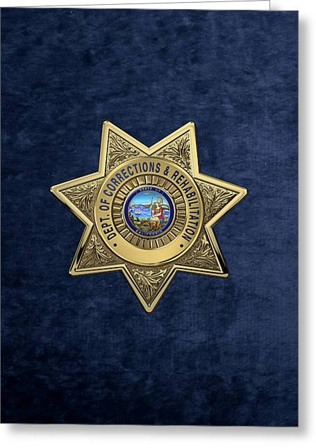 California Department Of Corrections And Rehabilitation - C D C R  Officer Badge Over Blue Velvet Greeting Card by Serge Averbukh