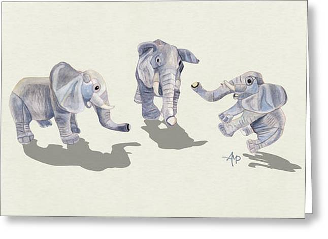 Elephants Greeting Card by Angeles M Pomata