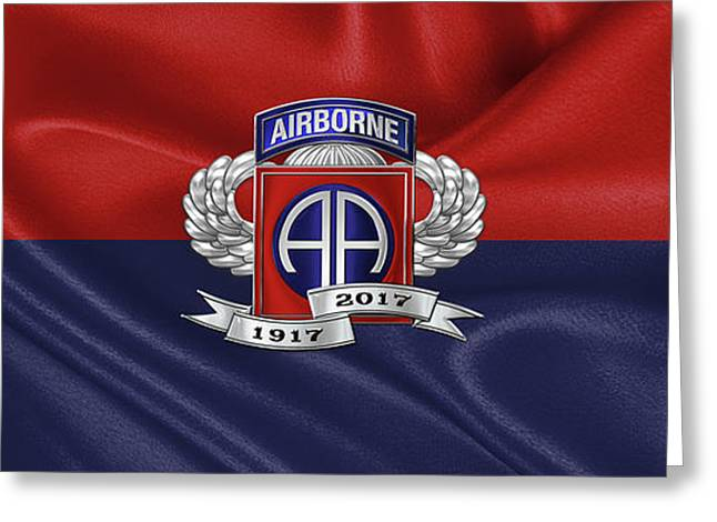 2nd Airborne Division 100th Anniversary Insignia Over Division Flag Greeting Card by Serge Averbukh