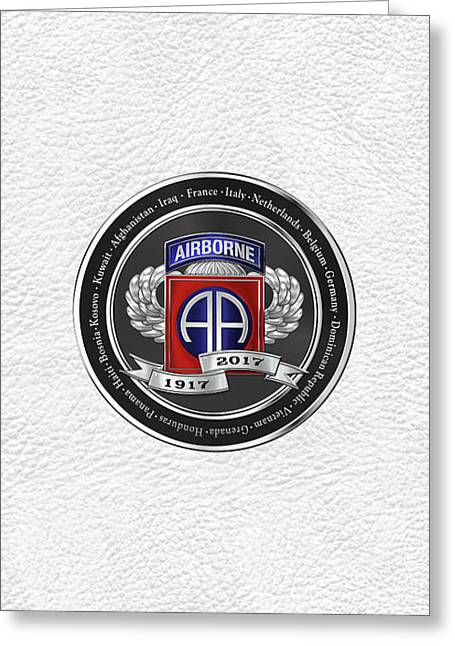 82nd Airborne Division 100th Anniversary Medallion Over White Leather Greeting Card by Serge Averbukh