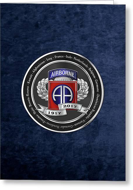 82nd Airborne Division 100th Anniversary Medallion Over Blue Velvet Greeting Card by Serge Averbukh