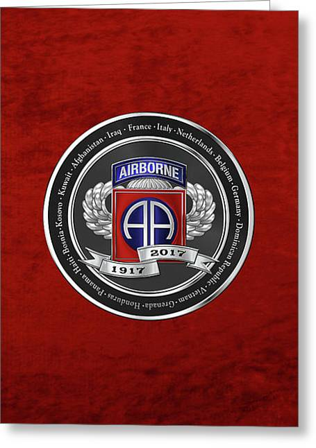 82nd Airborne Division 100th Anniversary Medallion Over Red Velvet Greeting Card by Serge Averbukh