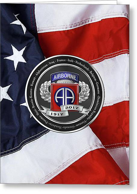 82nd Airborne Division 100th Anniversary Medallion Over American Flag Greeting Card by Serge Averbukh