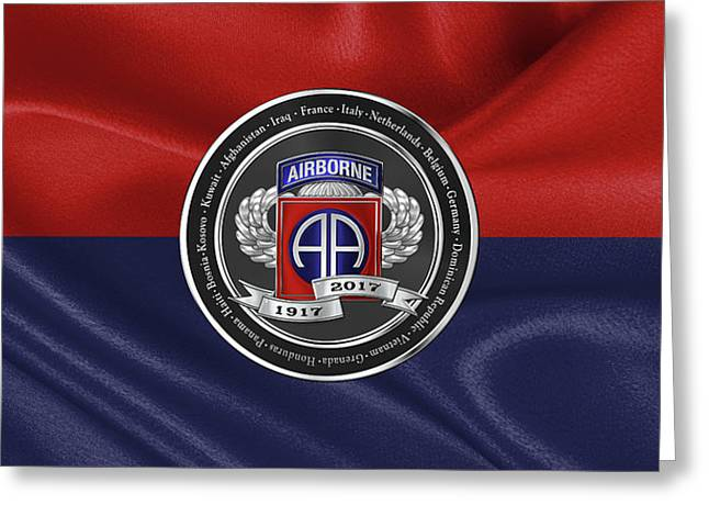 82nd Airborne Division 100th Anniversary Medallion Over Division Colors Greeting Card by Serge Averbukh