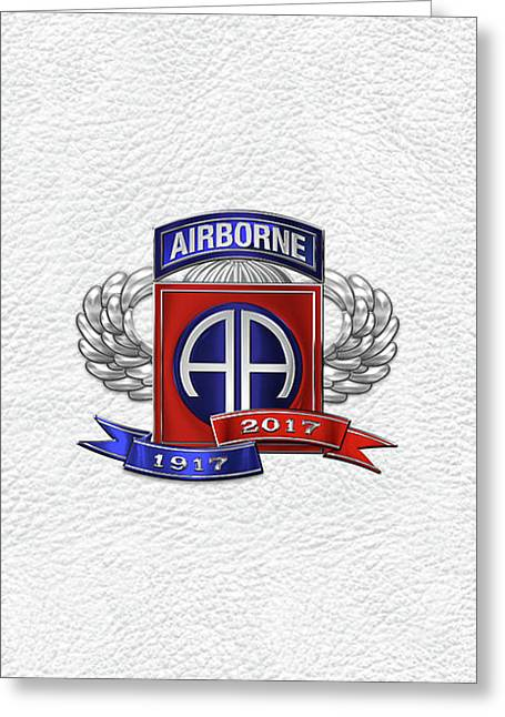82nd Airborne Division 100th Anniversary Insignia Over White Leather Greeting Card by Serge Averbukh