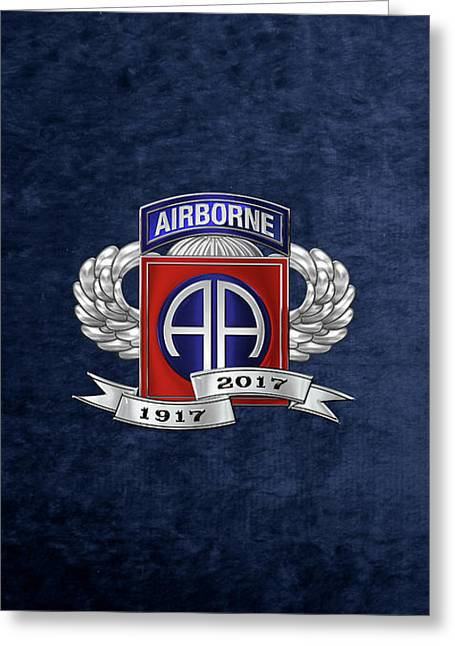 82nd Airborne Division 100th Anniversary Insignia Over Blue Velvet Greeting Card by Serge Averbukh