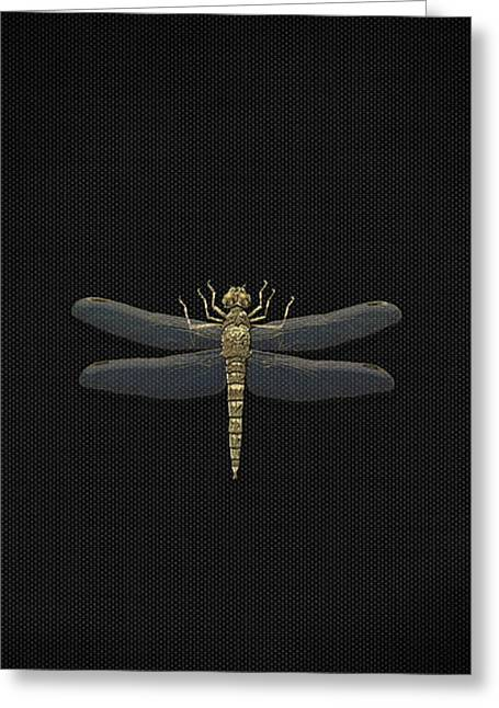 Gold Dragonfly On Black Canvasgold Dragonfly On Black Canvas Greeting Card