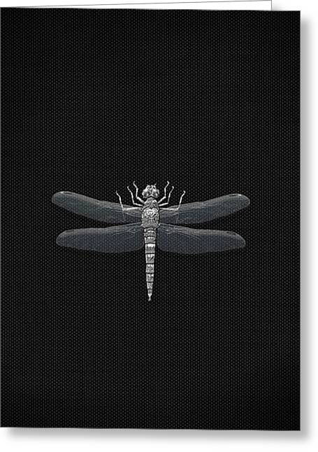 Silver Dragonfly On Black Canvas Greeting Card