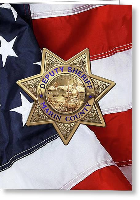 Marin County Sheriff Department - Deputy Sheriff Badge Over American Flag Greeting Card