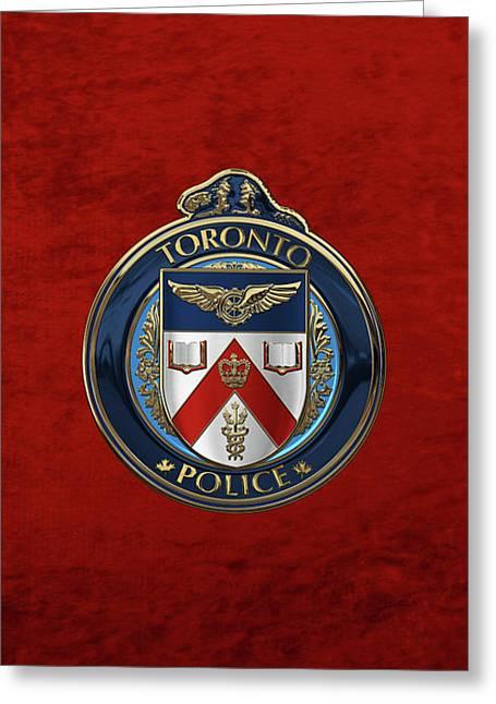 Toronto Police Service  -  T P S  Emblem Over Red Velvet Greeting Card