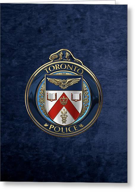 Toronto Police Service  -  T P S  Emblem Over Blue Velvet Greeting Card