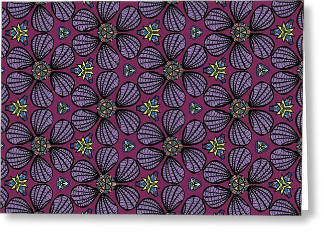 Greeting Card featuring the digital art Purple Flowers Pattern by Becky Herrera