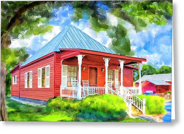 Little Red Cottage Greeting Card by Mark Tisdale
