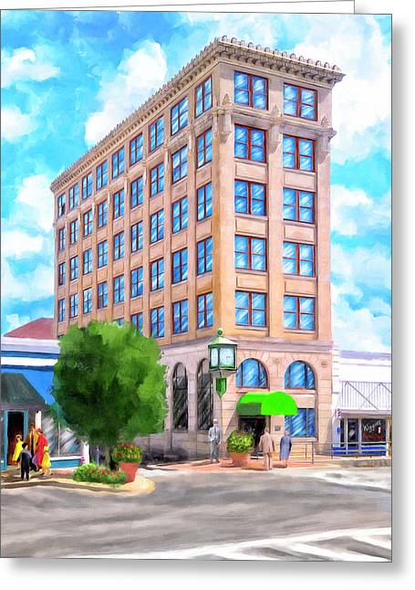Greeting Card featuring the mixed media Timmerman Building - Andalusia - First National Bank by Mark Tisdale