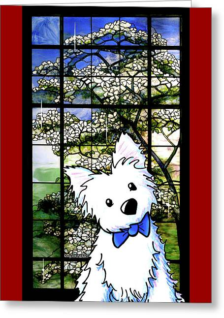 Westie At Dogwood Window Greeting Card