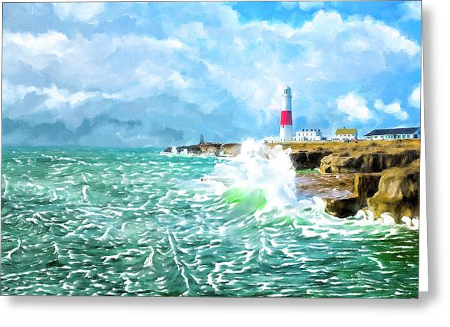 Clearing Storm - Portland Bill Lighthouse Greeting Card