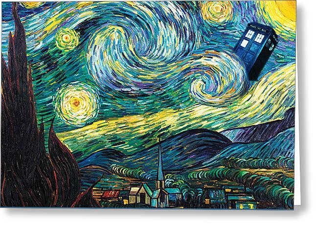 Starry Tardis Art Painting Greeting Card