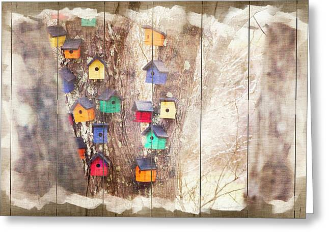 Tree Houses - Decorative Wood Panel Art Greeting Card