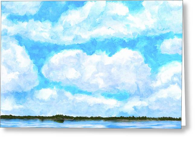 Greeting Card featuring the mixed media Lakeside Blue - Georgia Abstract Landscape by Mark Tisdale
