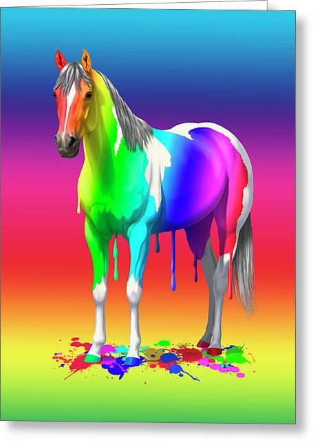 Colorful Rainbow Paint Horse Greeting Card by Crista Forest