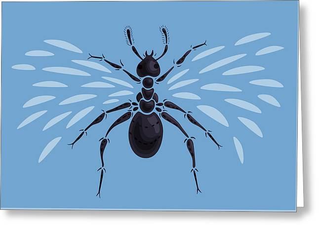 Abstract Winged Ant Greeting Card by Boriana Giormova