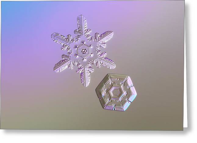 Snowflake Photo - Two Hearts Greeting Card by Alexey Kljatov