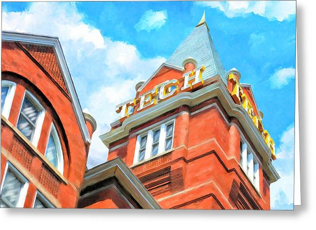 Greeting Card featuring the painting Iconic Tech Tower - Georgia Tech Campus by Mark Tisdale