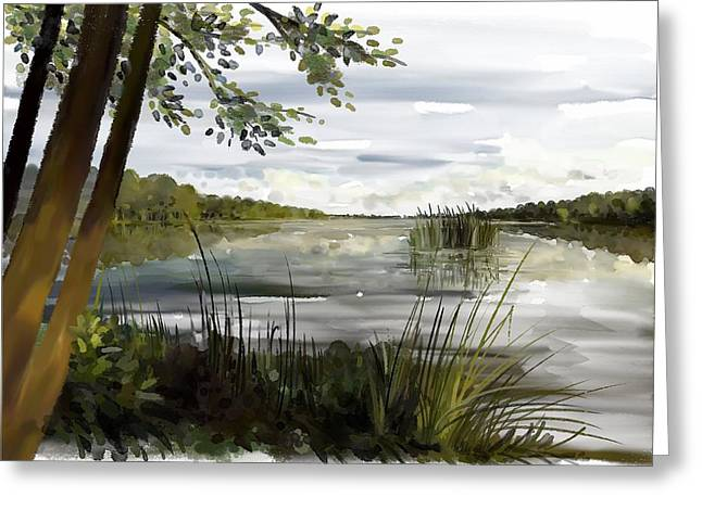 Quiet Day By Lake Greeting Card