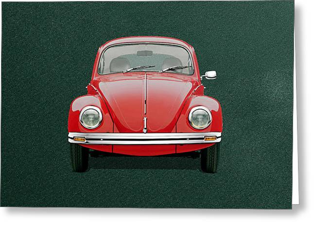 Greeting Card featuring the digital art Volkswagen Type 1 - Red Volkswagen Beetle On Green Canvas by Serge Averbukh