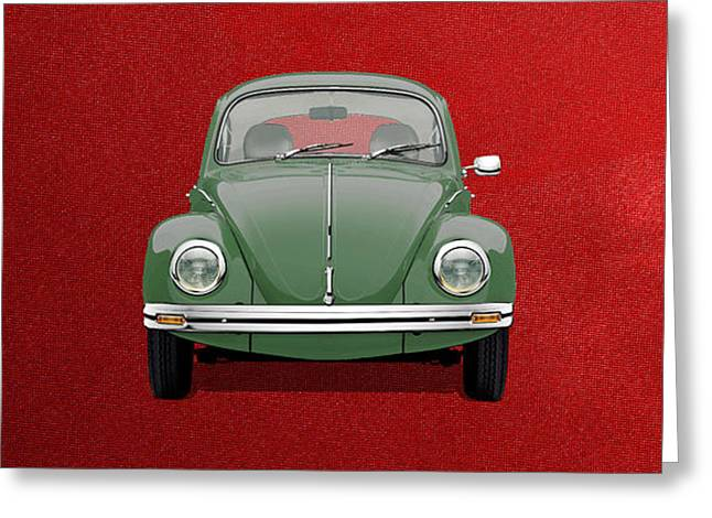 Greeting Card featuring the digital art Volkswagen Type 1 - Green Volkswagen Beetle On Red Canvas by Serge Averbukh