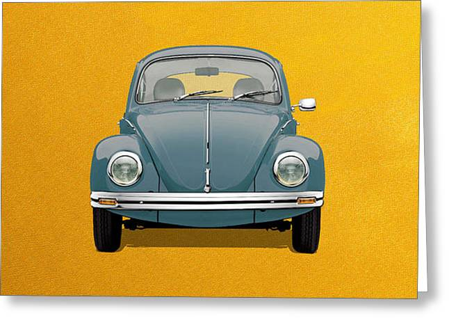 Greeting Card featuring the digital art Volkswagen Type 1 - Blue Volkswagen Beetle On Yellow Canvas by Serge Averbukh