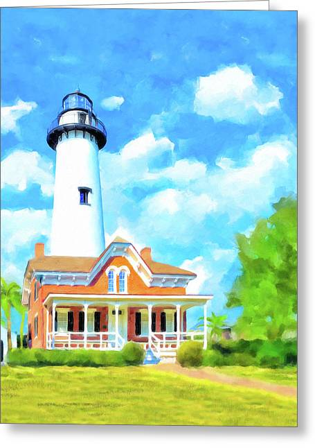 Fair Weather On St Simons Island - Georgia Lighthouses Greeting Card