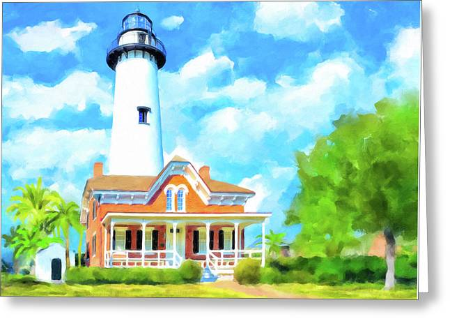 Greeting Card featuring the painting Fair Weather On St Simons Island - Georgia Lighthouses by Mark Tisdale