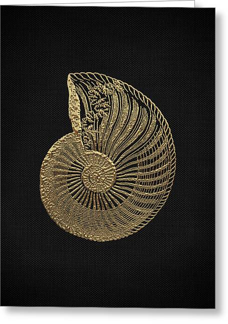 Greeting Card featuring the digital art Fossil Record - Golden Ammonite Fossil On Square Black Canvas #1 by Serge Averbukh