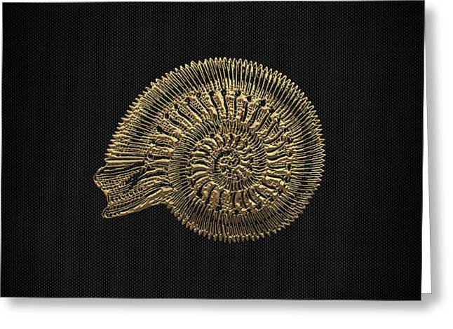 Greeting Card featuring the digital art Fossil Record - Golden Ammonite Fossil On Square Black Canvas #2 by Serge Averbukh